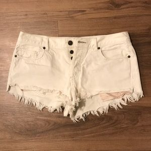 Free People Frayed White Shorts